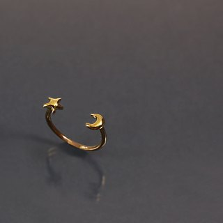 Little Star Moon Brass Ring