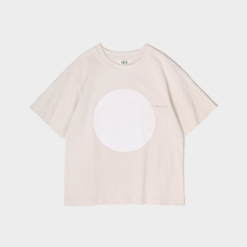 Light smoke powder cotton polka dot print pocket loose T-shirt