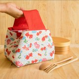 Japanese style lunch bag. Bento bag. Lunchables. Cotton fabric. Red gold fish collection.insulated l..