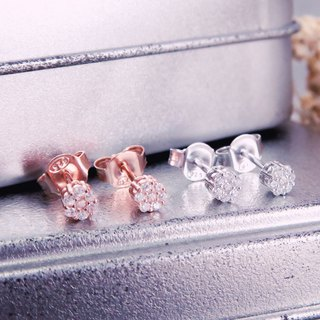 Full-Diamond Japanese Crown Silver Earrings (2 Colors - White K Gold / Rose Gold)
