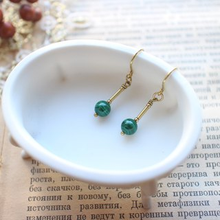 Fairy-Malachite brass earrings