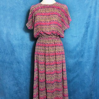 Complex Totem Half Sleeve Vintage Dress / Foreign Return to VINTAGE