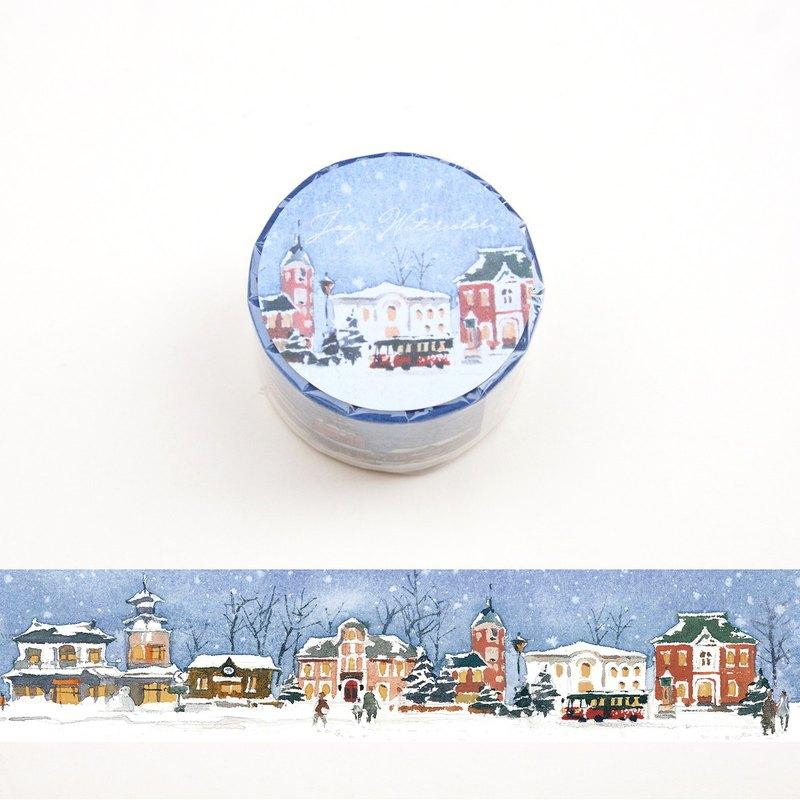 聖誕節北海道 | 啾吉水彩 手繪紙膠帶 貼紙 風景插畫 日本和紙