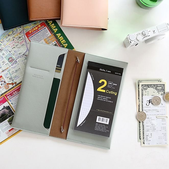 Funnymade Adult Stationery - Expandable Storage Leather Book Cover S-Mint Gray-green, FNM34263