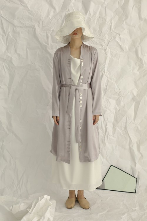 Satin Grey Long Sleeves Midi Dress with Irregular Buttons and Fabric Belt