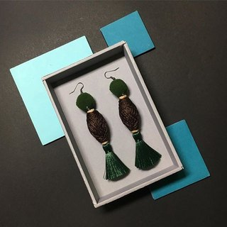 earrings : cotton tube green + brown
