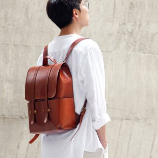Backpack (Medium) All handmade classic wine red brown cow leather / one-piece super lightweight