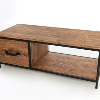 Industrial wind before and after opening drawer coffee table