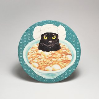 Water-absorbing ceramic coaster - black cat bubble peanut soup round (send stickers) (can be purchased custom text)
