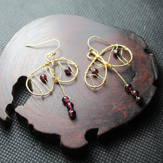 Wire Garnet Earrings Can Be Clip-on Art Nouveau