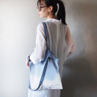 Cornflower blue gradient dyed cotton canvas hand dyed tote bag double back