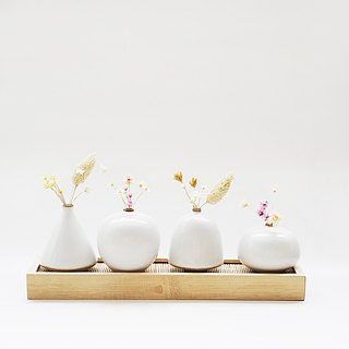 Handmade Ceramic Mini Flower Combination Set - White