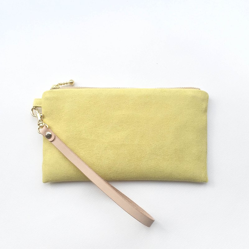 Yellow - Suede carry bag leather belt cosmetic bag phone bag