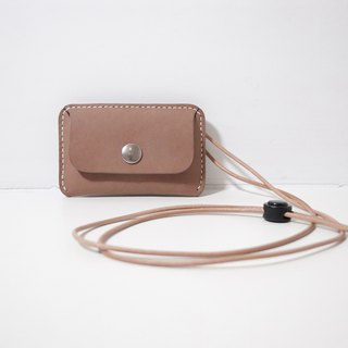 LUCE hand-sewn and vegetable tanned leather ID card holder/card holder - camel