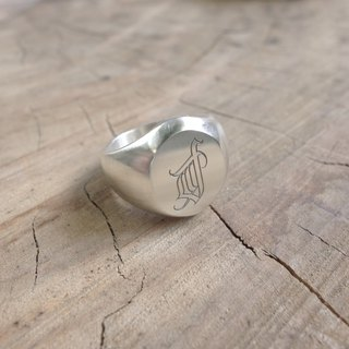 Sterling Silver - Elliptical Emblem Ring - Totem Customized Commodity Photo is only an example