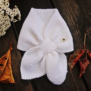 Handmade - Milk white - Kids scarf - Hand knit warm - Soft Merino wool