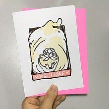 Hand-printed greeting card -  Big Cat Loaf (Big Love) Fat Cat in a box
