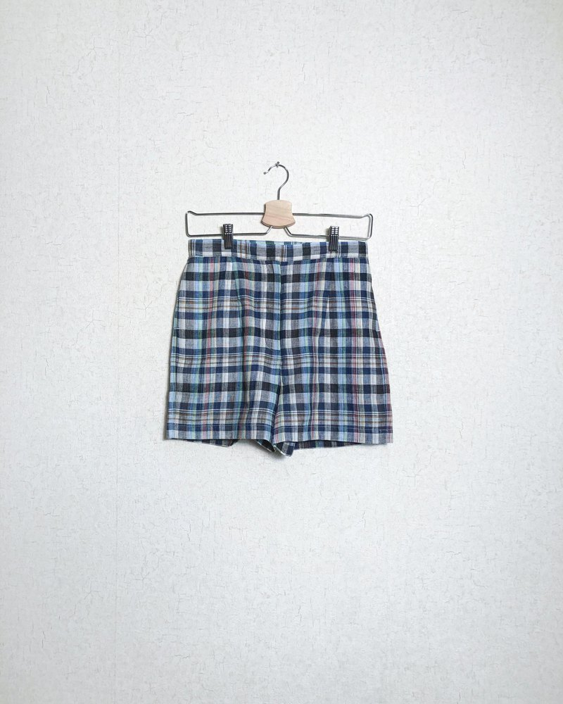Colourful Check Pattern High waisted Shorts - Slim Cut