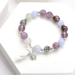 Symphony Natural Stone Silver Bracelet │ Gift Birthday Amethyst Blue Agate Lovers Secret Christmas