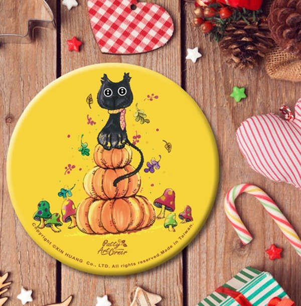 Painted Absorbent Ceramic Coasters – Christmas black cat pumkin
