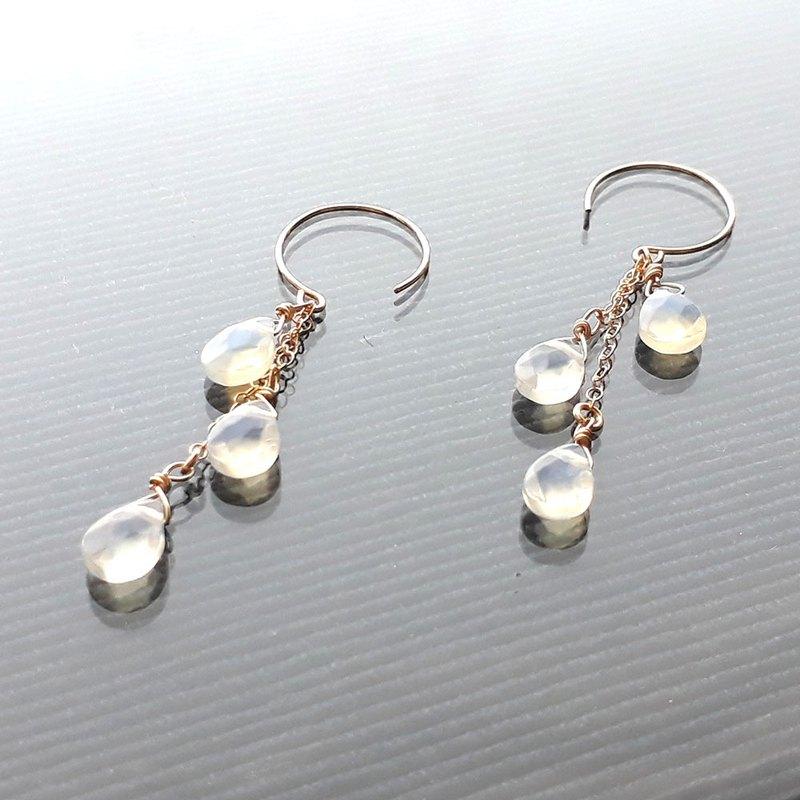 14KGF 歐泊opal 切面扁水滴層次垂飾耳環