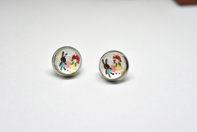 X stainless steel needle time gem earrings * cute * # Sister & Bunny #