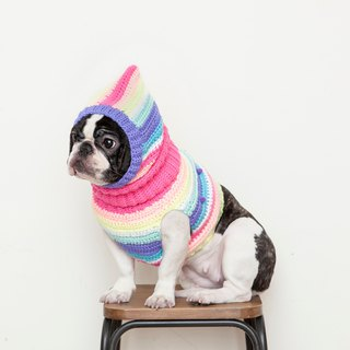 Ghostly ball turtleneck sweater warm headdress - pink rainbow