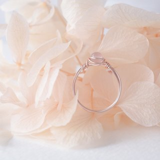 See Yayoi -3.5mm pink crystal rose gold copper wire ring