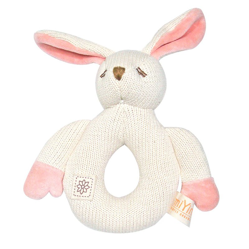 Fixed gear rattle toy organic cotton knit material miYim rabbit