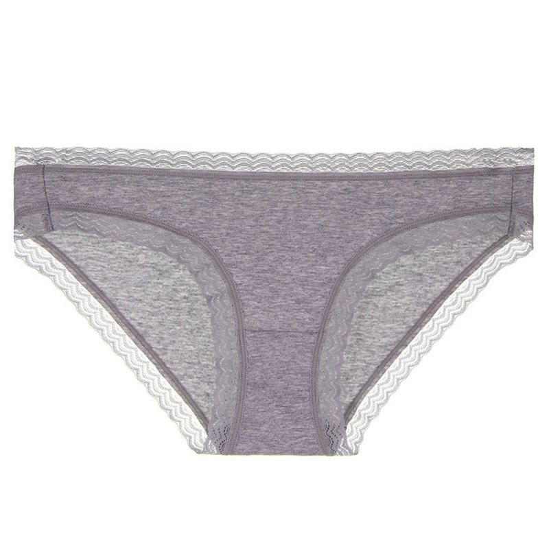 Minimal design lace cotton panties and flower ash