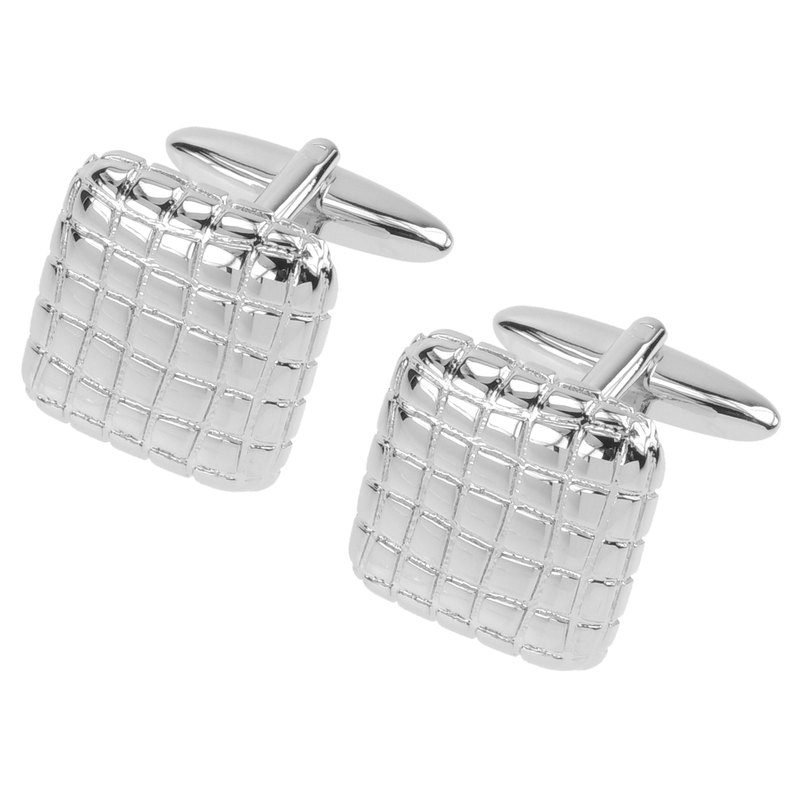 Etched Grid Soft Square Cufflinks