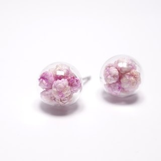 A Handmade Pink millet flower and fish flower glass ball earrings