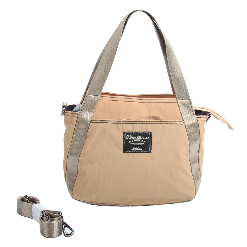 Khaki Nylon 2ways handbag