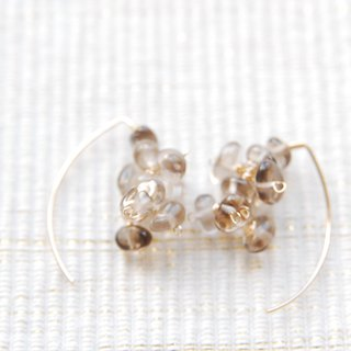 Light color smoky quartz marquis hook earrings 14 kgf