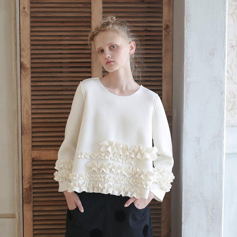 Flower air cotton white long-sleeved clothing - imakokoni