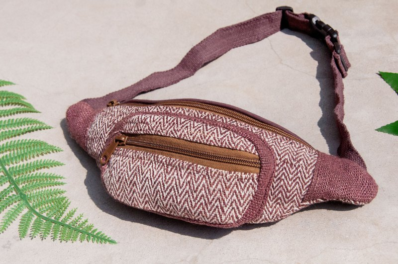 Carry-in pockets cotton and linen pockets hand-woven cloth side backpack cross-body bag chest carry-on bag shoulder bag - coffee