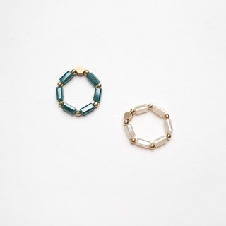 Glass Chain ring (green)