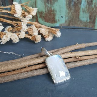 Modern large Moonstone pendant in rectangular silver bail