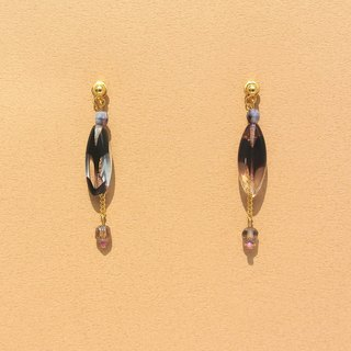 Ink-colored luster beads / shine meteor chain earrings