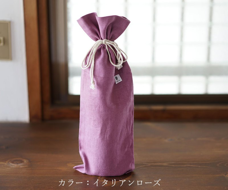 wafu Linen wine bag / wine cover / gift / elaborate details / rose z002i--irs2