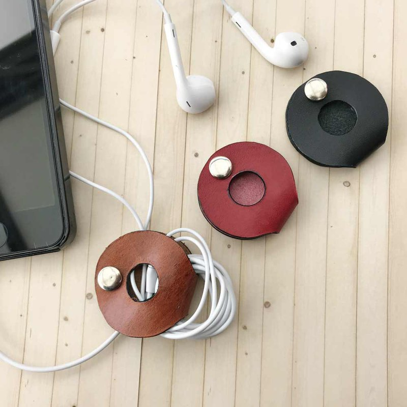[leather temperature] headphone cable small round storage device