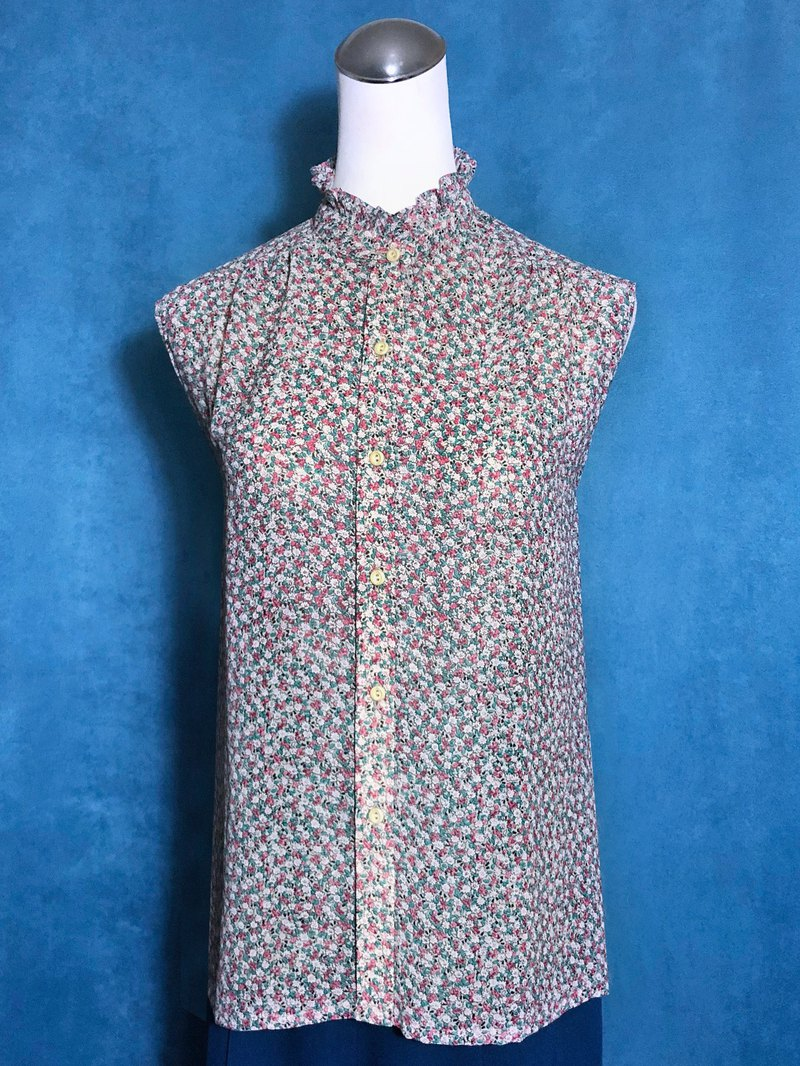 Lotus leaf collar sleeveless vintage shirt / brought back to VINTAGE abroad