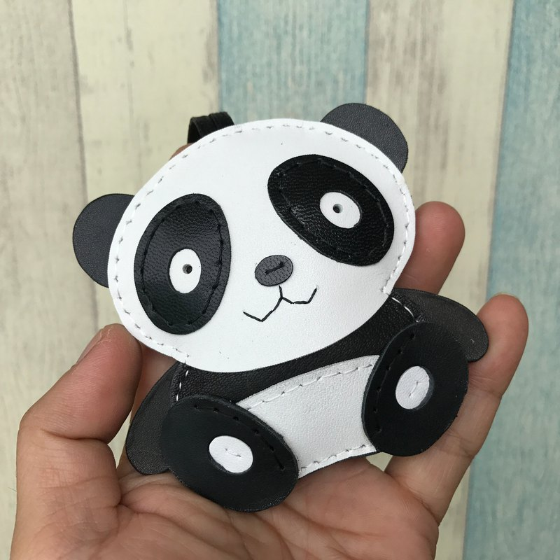 Black/white cute panda bear handmade sewn leather charm large size big size