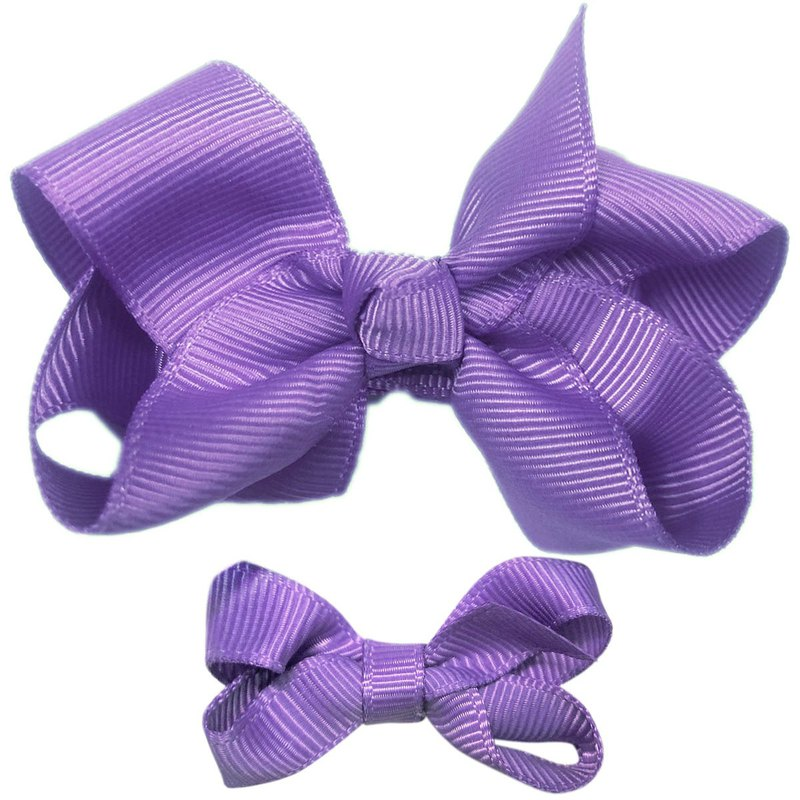 Cutie Bella Bow All Inclusive Handmade Hair Accessories Small and Medium Set 2 Hair Clips - Violet