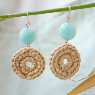 ITS-213 [Earrings Series, Weaving Holidays] - Light Green Circle
