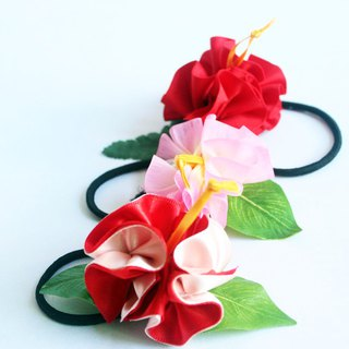 3ways hibiscus accessory,Ponytail Holder(R3),hair bow,flower accessory,ukulele