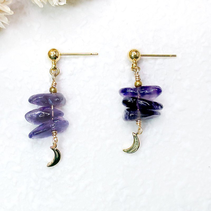 VIIART. Month Month Year Year-Amethyst. Natural stone brass gold-plated earring earrings-clip-on