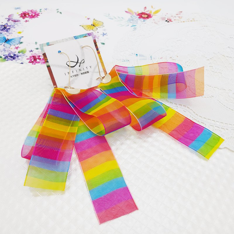 Daqian design retro rainbow comrades horizontal ribbon bow earrings gift lover