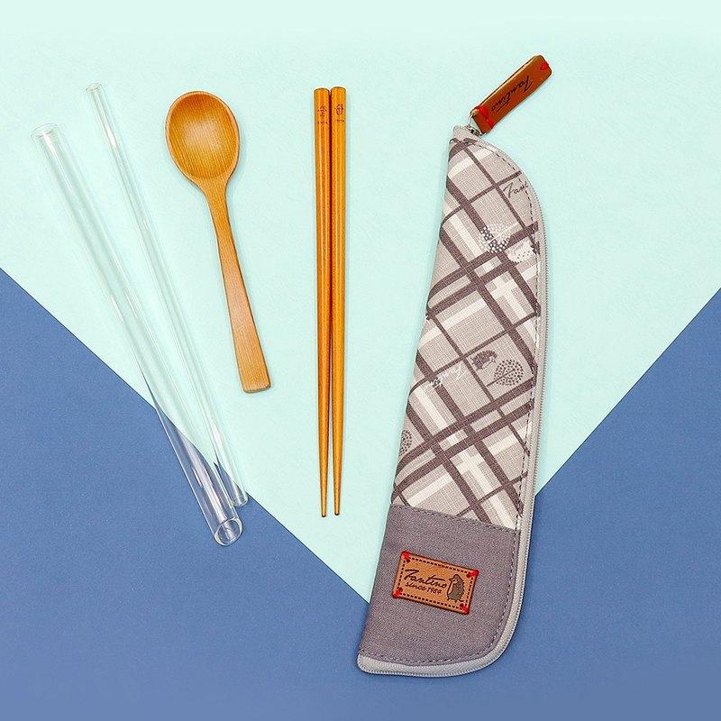 獨創布花 棉麻餐具袋::月球灰:: (格紋街區)環保餐具/交換禮物