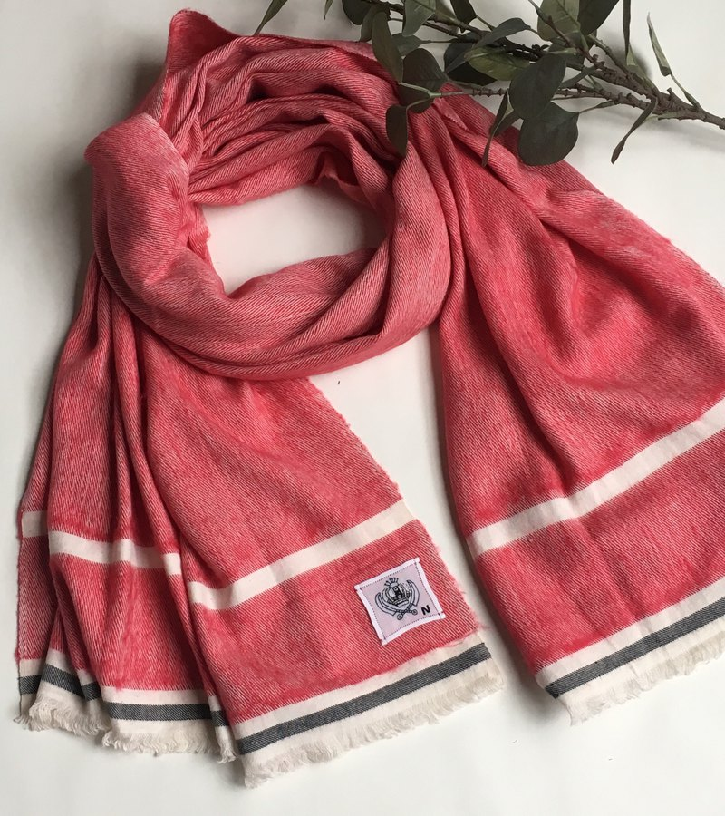 Brushed soft wool hand woven shawl